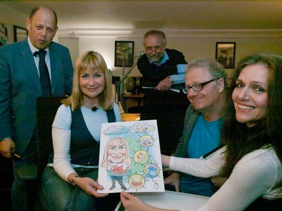 Pictured here from left to right Jeremy Jacobs (interview and presenter), Sian Lloyd, Guy Carter (cameraman), Simon Ellinas (Chattoon Obergruppenfuhrer), Cathy Simpson.