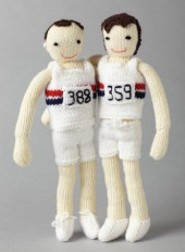 Knitted Runners from the Post Office Tea Rooms Olympic window display