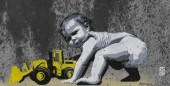 Baby and bulldozer