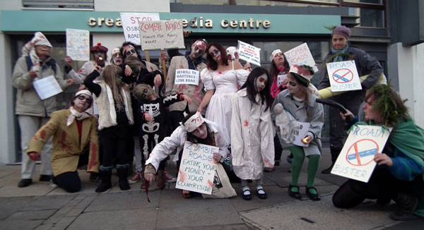 Zombie Roads congregate outside MP Amber Rudd's office in Robertson Street. Credit: Milan Rai
