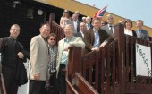 Your chance next week to discuss the cuts with council leader Jeremy Birch, second left, here hosting a delegation from Dover District Council in May. (Photo: HBC)