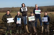 Six NGOs give the link road the thumbs-down: from left, Stephen Joseph (CBT), Chris Corrigan (RSPB), Stephanie Hilborne (Wildlife Trusts), Andy Atkins (FoE), John Sauven (Greenpeace) and Ralph Smyth (CPRE). (Photo: Adrian Arbib/CBT)