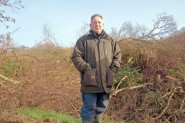 Michael Bernard surveys felled trees in Combe Haven while waiting to hear from the High Court. (Photo: Bill Coney)