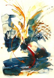 Poissons d'Or, watercolour on paper © Stephanie Fawbert