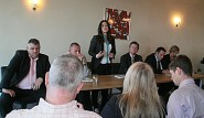 Parliamentary candidate Sarah Owen addresses the meeting.