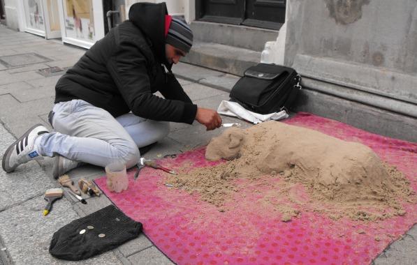 Sand artist, Marian from Romania