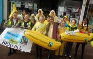 Schoolkids in Bexhill calling for fair prices for banana producers during Fairtrade Fortnight.
