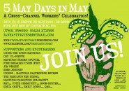 Five days in May flyer, by designed by Erica Smith, Linocut by Emily Johns