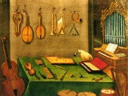 Late 18th- century educational picture board of musical instruments