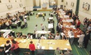 Counting gets under way at the Horntye Park last night.