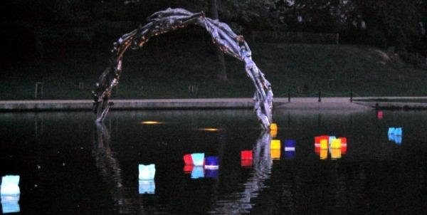 Lanterns on the lake at Alexandra Park