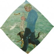 Paul Carrying Robin Huss Accompanied by His Dog Saxon 1979/80 in the Towner collection © Laetitia Yhap