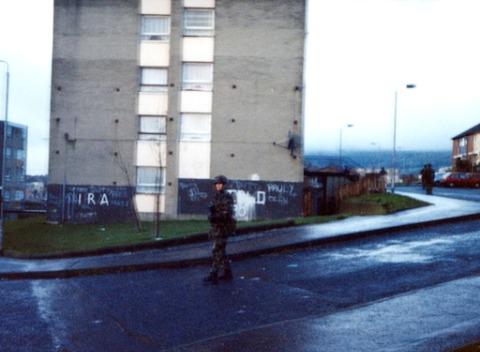 Foot patrol, Lenadoon Estate, West Belfast, 1990