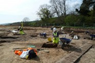 HAARG volunteer working on the Romano-British Iron production site, Upper Wilting Farm.