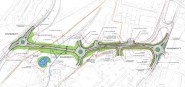 The Queensway Gateway Road will run west from the Sainsbury's turnoff to Queensway Road (image: Masterplan Layout document).