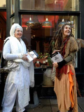 Not-so-mythical Radiator Artists, Jennie and Joy, on their way to Snowline