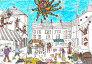 Town Scene by Zelly Restorick