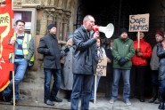 Jeremy Birch leading a protest against the bedroom tax outside the town hall in March.