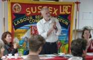 Jeremy Corbyn at a Brighton Fringe event organised by Sussex LRC in May (Photo: Morten Watkins).
