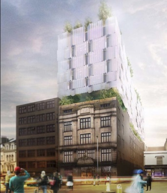 Seven storeys high - the redesign proposed for the Observer building (image: Flint Development Group).