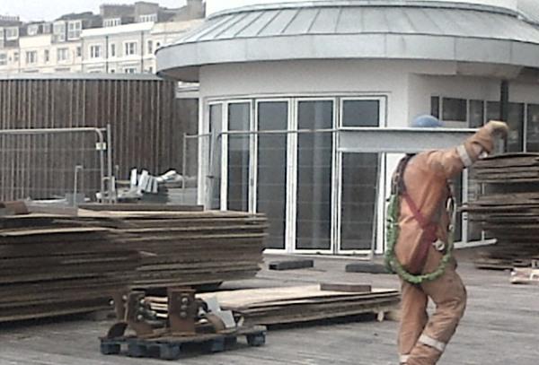 Heritage asset: the pier under restoration.