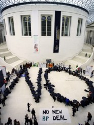 A message from protesters in the British Museum main court (photo: Anna Branthwaite).