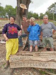 Campaigners at the site of tree felling Photo CHDs