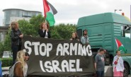 Demonstrators outside the recent London Docklands arms fair © Gill Knight