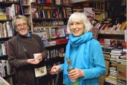 Rosie & guest at book launch. SOS