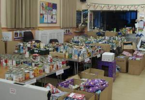 Food items and presents ready for packing.