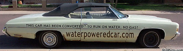 From the site, Water Powered Car