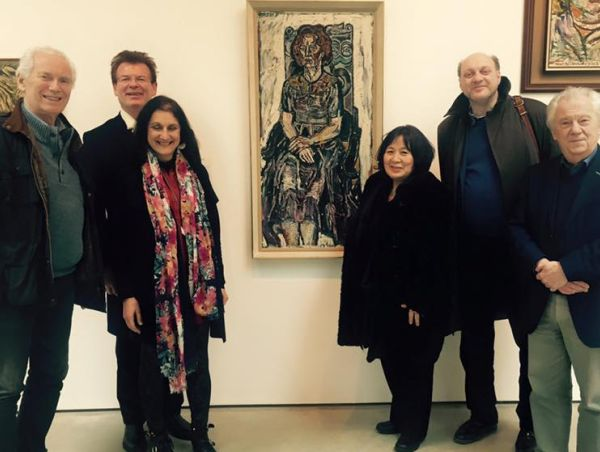 The international jury take a break to tour the new John Bratby retrospective at the #Jerwood Gallery. Seen here with Bratby's portrait of the Australian concert pianist Eileen Joyce.