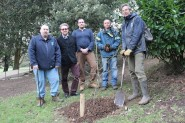 Image shows L to R Tim Hills TCV, Cllr Warren Davies, Volunteers and Dr Owen Johnson