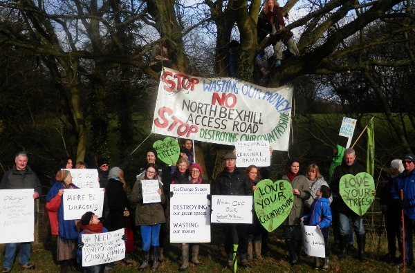 Countryside lovers protest against the North Bexhill Access Road (photo: CHD).
