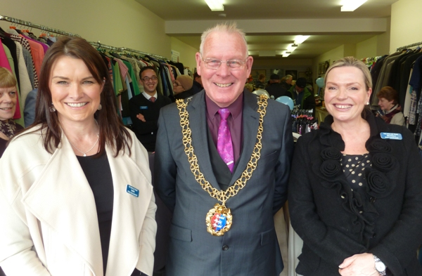 The mayor, Cllr Bruce Dowling, flanked by Emma Dell, Sara Lee Trust's area retail manager, left, and