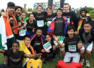 Team Pestalozzi celebrate finishing last year's half marathon, when they raised £4,000. This year they're aiming for £6,000.