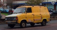 The yellow peril – Purdy the van has been forced off the road because of her chantilly lace back doors