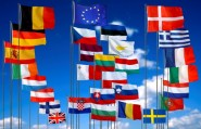 The flags of the 28 EU member countries - after next Thursday, there may only be 27.