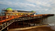 Hastings pier undergoing restoration in late 2014 (photo: John Cole).