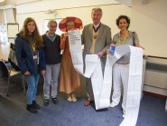 Residents from Lewes, Forest Row and Hastings hand in hundreds of signatures calling for the divestment of the East Sussex Pension Fund from fossil fuels, at County Hall in Lewes, 12 July 2016
