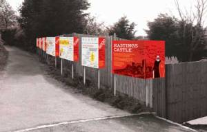 An artist's impression of the explanatory boards with a historical timeline which are to be placed at the start of the path leading to the castle from Castle Hill road (image: Suzan Aral).