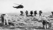 British forces in the Falklands, one of the few legal wars fought by the country since WW2 (photo: Crown Copyright IWM, FKD 264).