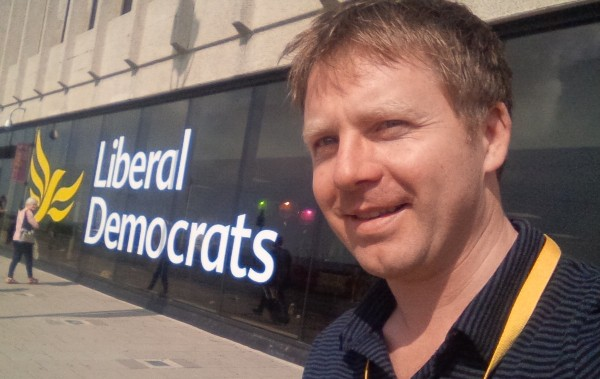 Nick Perry, once more the Lib Dem parliamentary candidate for Hastings & Rye, at the party's recent conference in Brighton.