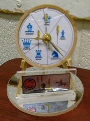 The chess archery trophy, which includes a replica of the target divided into segments for the different types of chessman.