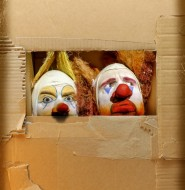 Clowns in a cardboard box