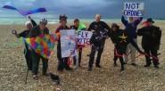 Members of Hastings Against War Flying Kites Not Drones