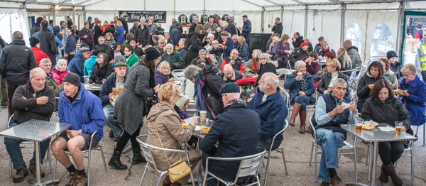 Lunch, beer and entertainment at the Marquee stage.