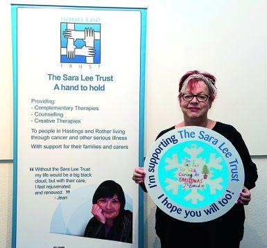 Sara Lee Trust patron, Jo Brand with her snowflake.