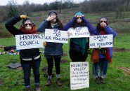 Combe Haven Defenders protest planning permission for the Queensway Gateway road (photo: CHD).