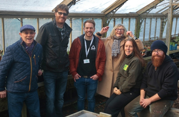 Cause for celebration: from left, volunteers Eddue keogh and ross Andrews-Clifford, Ben Smitton from Groundwork, Linda Pearson, park ranger Julie Apps and blacksmith Tobias Cobrin.